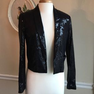 H&M black sequin, Cropped blazer. Tuxedo